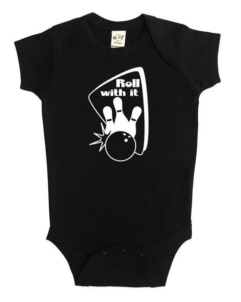 """Roll With It"" Bowling Baby Bodysuit"