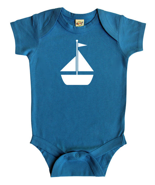 Transportation Silhouette Baby Bodysuit-Sailboat