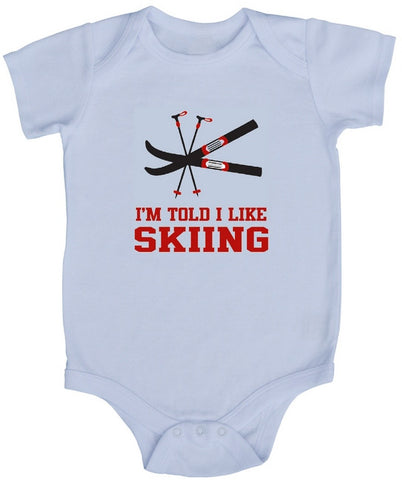 I'm Told I Like Skiing Baby Bodysuit