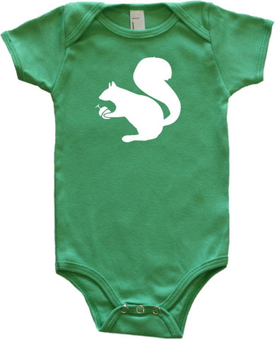 Woodland Animal Silhouette Baby Bodysuit-Squirrel