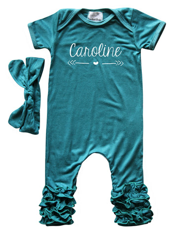 7742e9db907 ... Personalized Baby Ruffle Romper for Girls (Matching Headband Included)