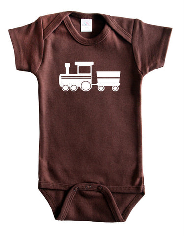 Transportation Silhouette Baby Bodysuit-Train
