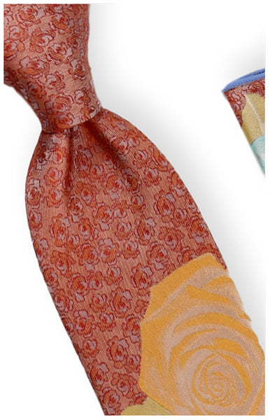 Vintage Rose Silk Tie + Pocket Square