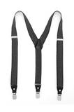 Black with White Diamond Unisex Clip On Suspenders