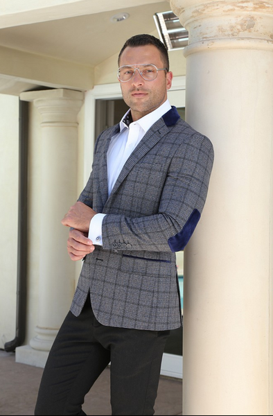 Charcoal Plaid Wool Sport Coat Blazer