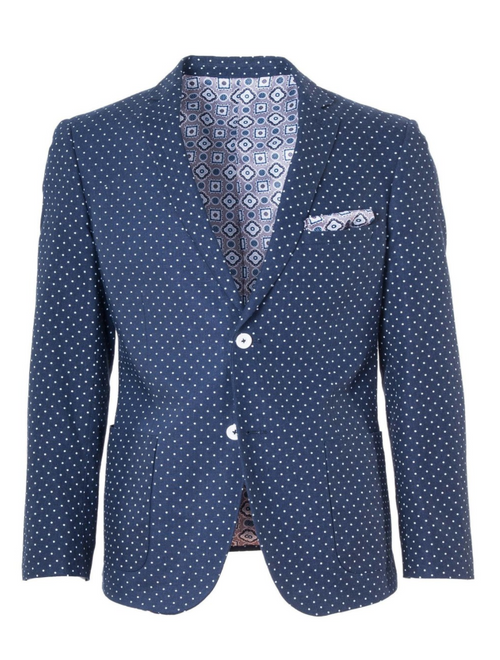 Dover Notch Patch Jacket - Navy & White Polkadot