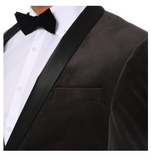 Enzo Grey Slim Fit Velvet Shawl Collar Tuxedo Blazer