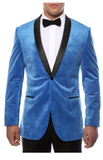 Enzo Royal Blue Slim Fit Velvet Shawl Collar Tuxedo