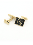 Goldtone Black Dot Design Cufflinks