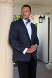 Navy Speckled Wool Sport Coat Blazer