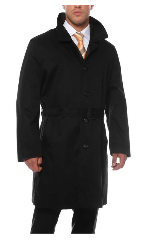 Mens Black British Classic Fit Urban Trench Coat