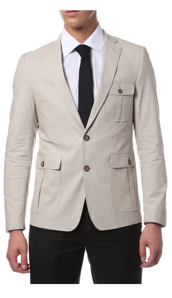The Omega Slim Fit Stone Check Mens Blazer