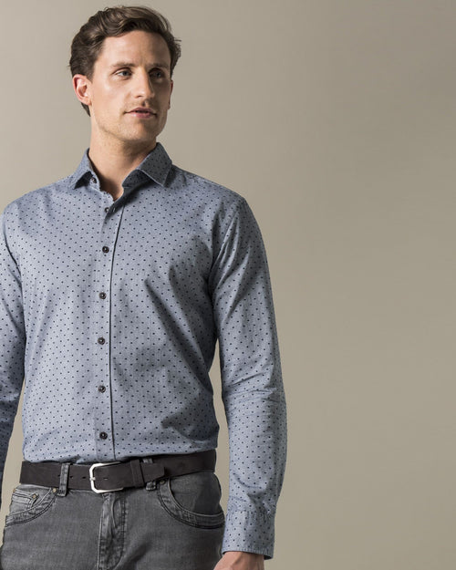 Button Down Dress Shirt in Dark Blue