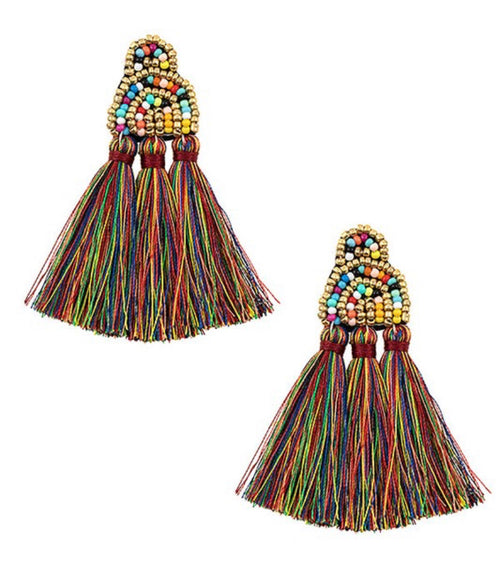 Tassel Bead Dangle Earrings