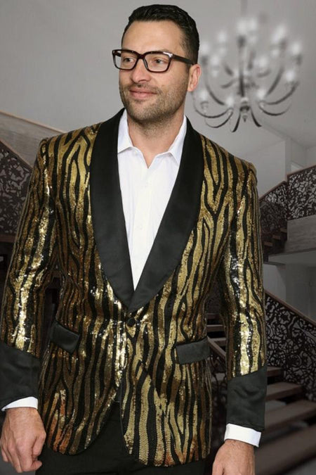 Woven Gold & Black Metallic Floral Sport Coat Blazer