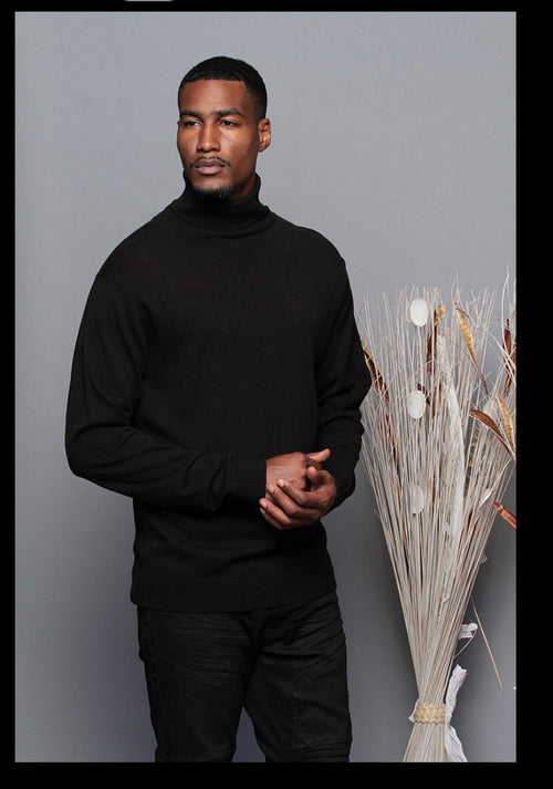 The Calm Turtleneck- Black