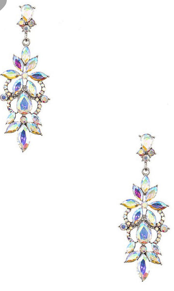 Crystal floral gem pave earry