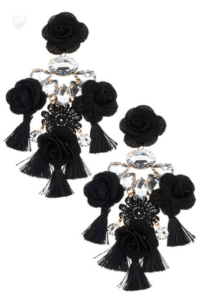 Black floral earrings
