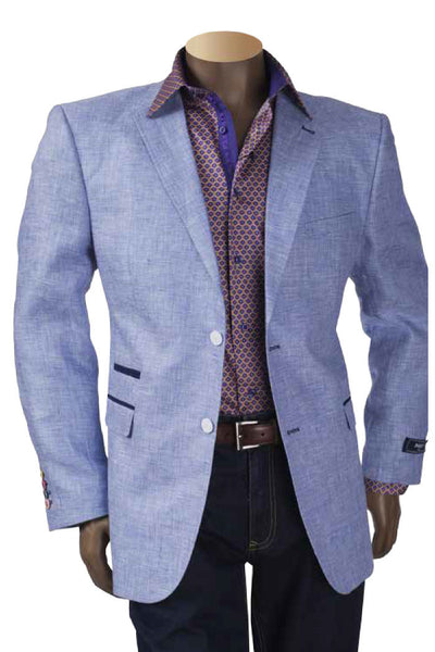 Linen Blazer With White Elbow Patches