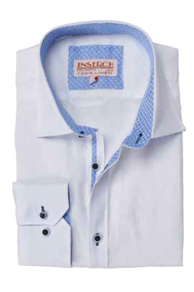 White Linen Shirt with Jacquard Trim