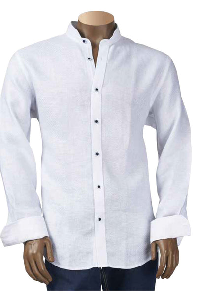 Linen Jacquard Shirt with Banded Collar