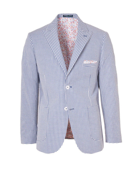Ashton Peak Patch Jacket in Navy & White Gingham