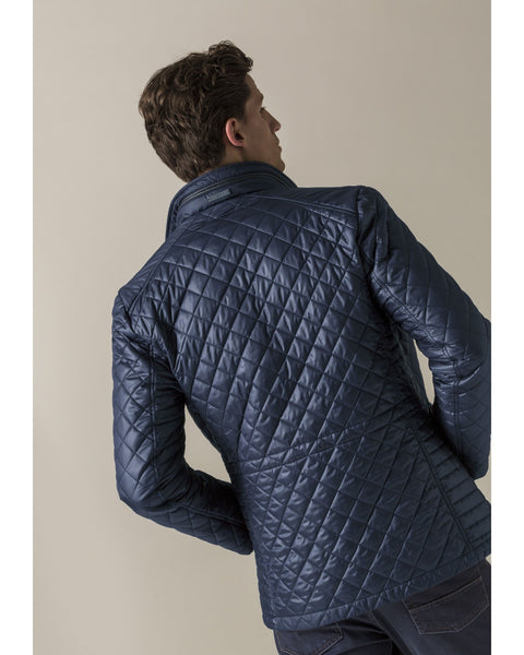 Quilted Navy Jacket with Leather Details