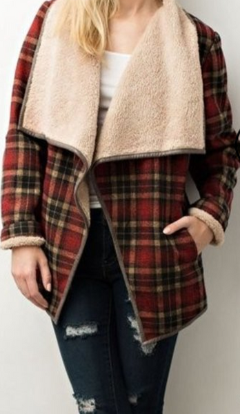 Plaid Fur Jacket