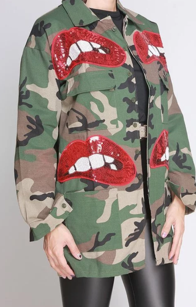 Sequin Lip's Camo Jacket