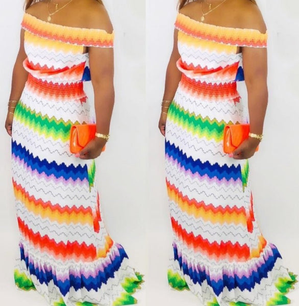 Wave Striped Beach Maxi