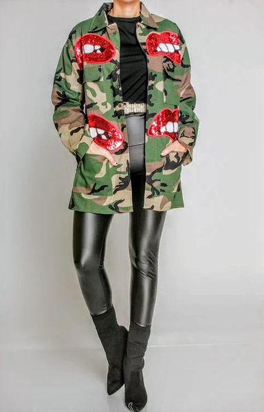 Kiss Of Sequins Camo Jacket