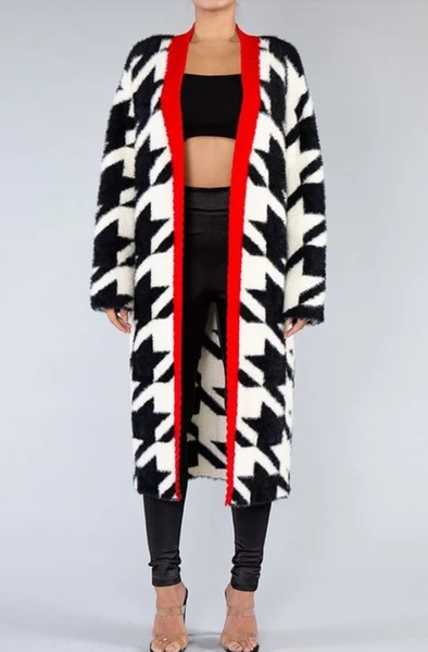 HoundsTooth Fluffy Cardigan