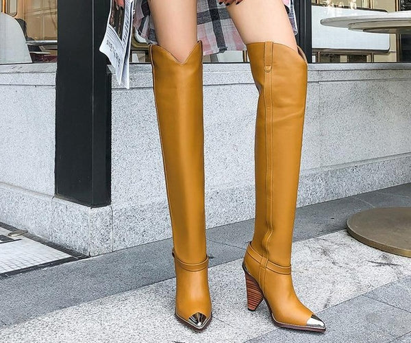 New Thigh High Metal Pointed Toe Cowgil