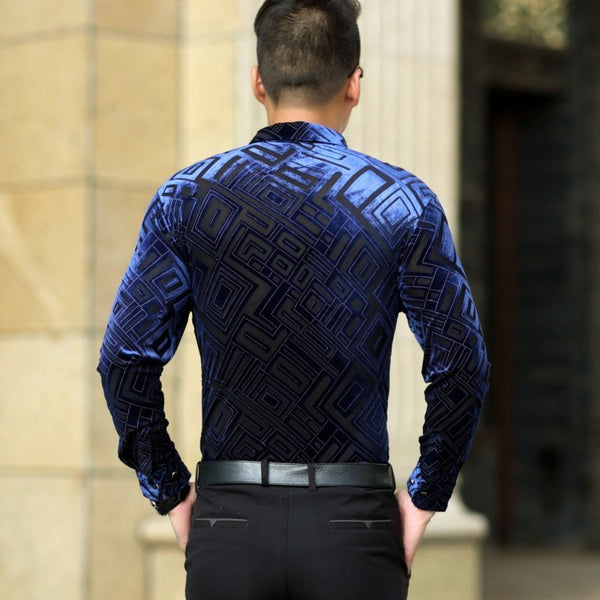 Geometric Velvet Transparent Silk Mens Slim fit Button Up