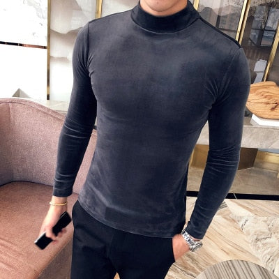 Korean corduroy British Mock Neck