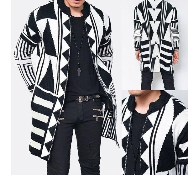 NEW Men Slim Fit Knitted Aztek Trench Cardigan Sweater