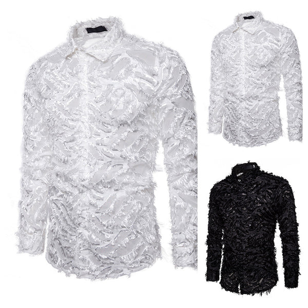Mens Swan/BLK Swan Slim Fit Button Down Shirt