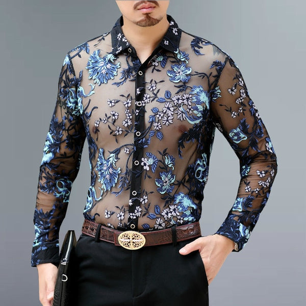 2020 Mens Botanecal Mesh Slim Fit Button Up