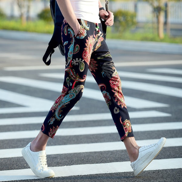 Men multi print ankle pencil pant jogger trousers