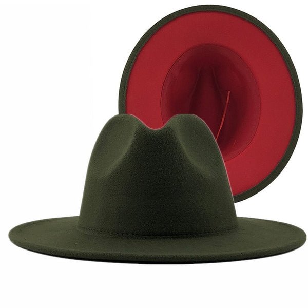 Unisex Red Bottom/Color Block Wide Brim Fedora