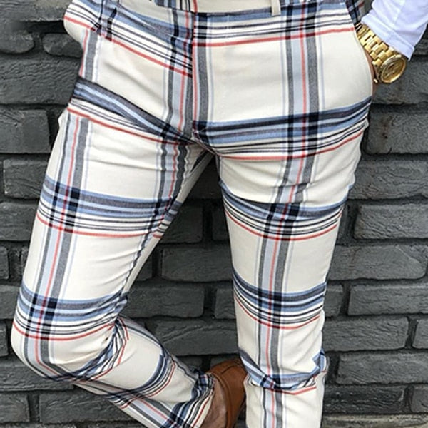 Men's Casual Plaid Social Slim Fit Trousers Zipper Mid Waist Skinny Business Office