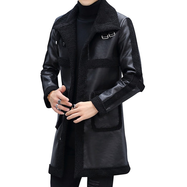 Men | Single-Breasted Slim | Leather Long Fleece | Trench