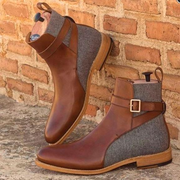 Rusty Cognac Mens Strap Buckle Chelsea Boot