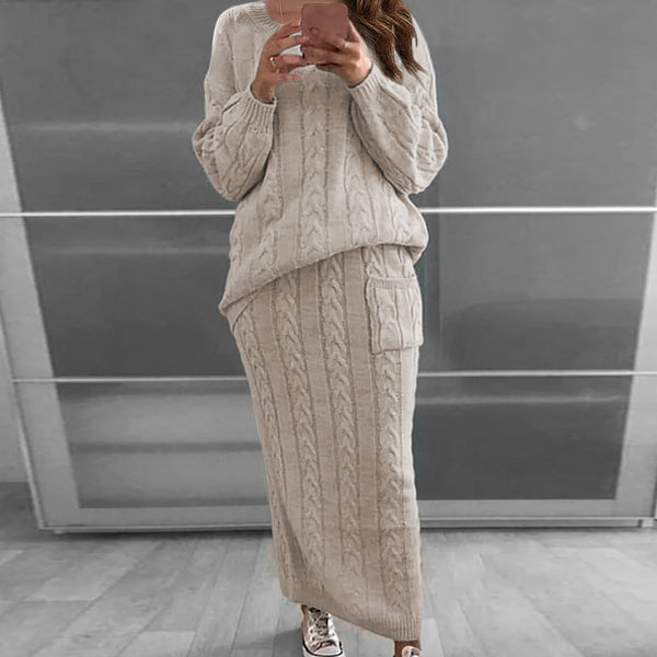 Casual Knitted Skirt Set