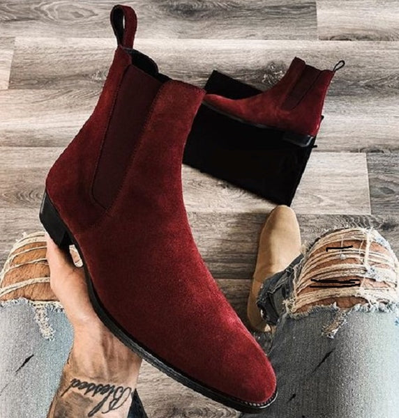 Men (Red) Suede Leather Vintage Slip-on Ankle Chelsea Boot