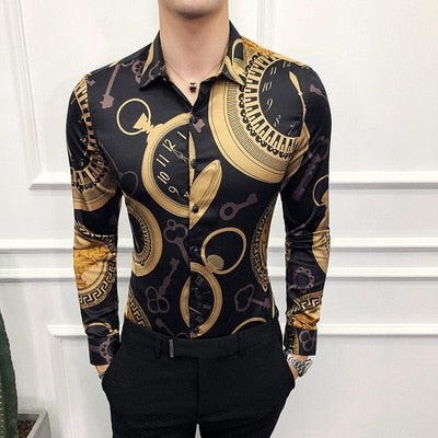 Deco Designer Slim Fit Shirts Casual Party Night Club Shirts Men M-4XL