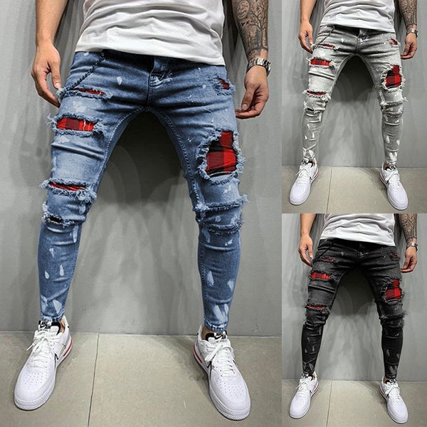 New Men's Slim-Fit Distressed Plaid Denim Jeans