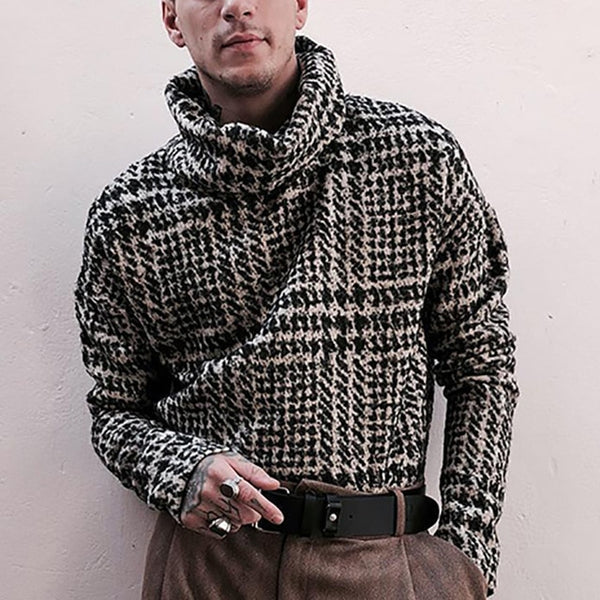 Men's | Long Sleeve comp Knitted Pullover | Hounds Tooth | Turtleneck Sweater | Autumn Winter Luxury