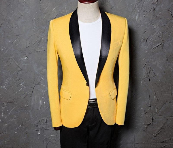 Men / Lemon Shawl Lapel / Slim – Plus Size /  Slim Fit Suit Jacket / Blazer