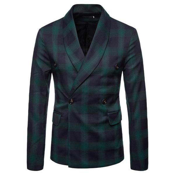Sleek Plaid Slim Blazer